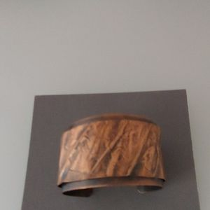 Handcrafted two layer copper cuff bracelet.